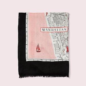 $58.1(原价:$118)Kate spade 精美纽约地图丝巾热卖