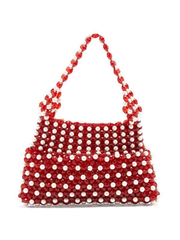 红白珍珠手拿包