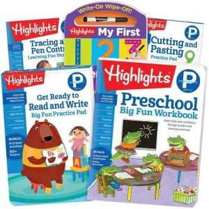额外8.5折+免邮 送人也合适独家:Highlights 儿童P-2年级返校练习册套装优惠,全彩设计