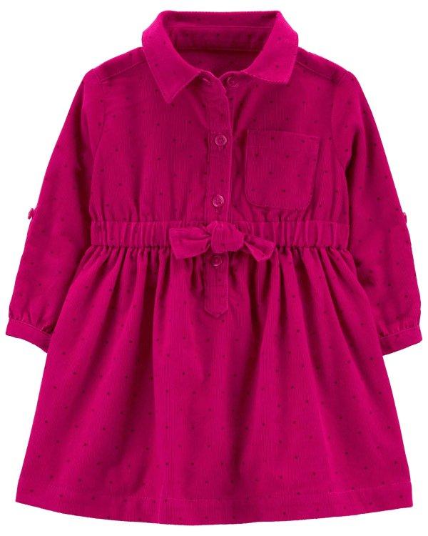 婴儿灯芯绒衬衫式连衣裙
