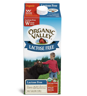 Organic Valley, Organic Lactose Free Whole Milk, Ultra Pasteurized, Half Gallon, 64 Ounces: Amazon.com