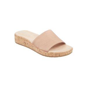 Muscari Slip On Cork Sandals - Rose Satin