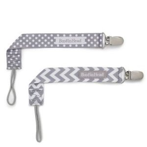 BooginHead 2pk PaciGrip Pacifier Clip Pacifier Holder - Gray Chevron Gray Dots : Target