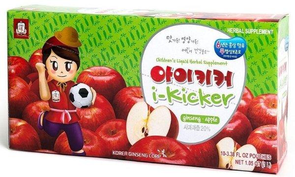 I-Kicker Apple 儿童天然果汁无糖红参饮料苹果味100ml*10包