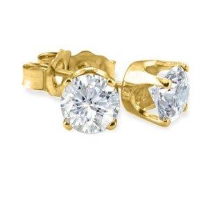 现价$59.97(原价$299.99)独家:SuperJeweler 1/10ct 钻石14K白金/黄金耳钉热卖