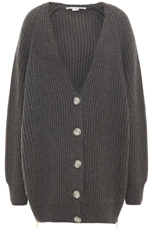 深灰色羊毛开衫