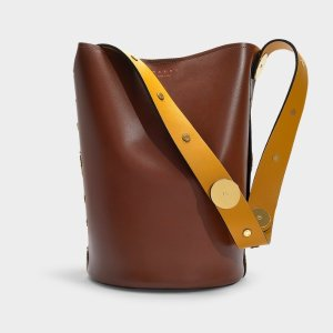 MarniPunch Bag in Brown, Black and Yellow Calfskin