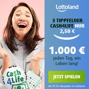 终身领取 每天€1000奖金相当于2100万欧元大奖 Cash4Life 终身现金奖 3次选号仅€2.5