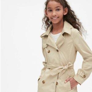 低至5折+额外7折 GAP礼券兑换最后1天折扣升级:Gap官网 儿童服饰优惠 新款已上 封面儿童风衣$44.1