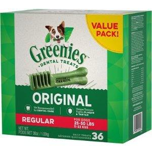 GreeniesRegular Dental Dog Treats, 36 count - Chewy.com