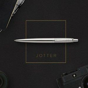 $7 Parker Jotter Ballpoint Pen, Stainless Steel with Chrome Trim, Medium Point Blue Ink, Gift Box