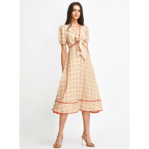 Bright trimmed woven check dress