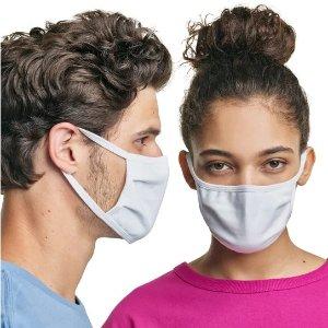 $25+包邮 一只仅$2.5Hanes官网 100%纯棉防尘口罩 10只装,可反复使用