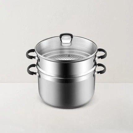 大容量三层钢厚底蒸锅