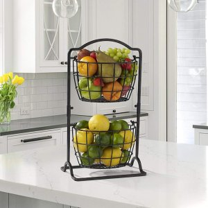 Mikasa Harbor 2-Tier Metal Mini Countertop Fruit Storage Basket