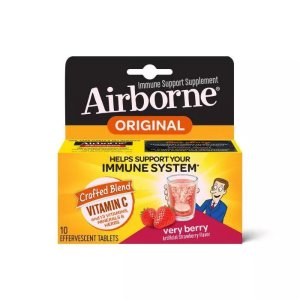 AirborneImmune Support Effervescent Tablets with Vitamin C & Zinc - Very Berry - 10ct