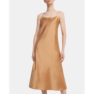 Theory晒货同款鹅黄色一片式连衣裙