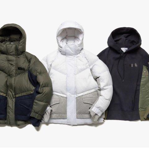 Nike x Sacai 合作款冬季羽绒服、卫衣等