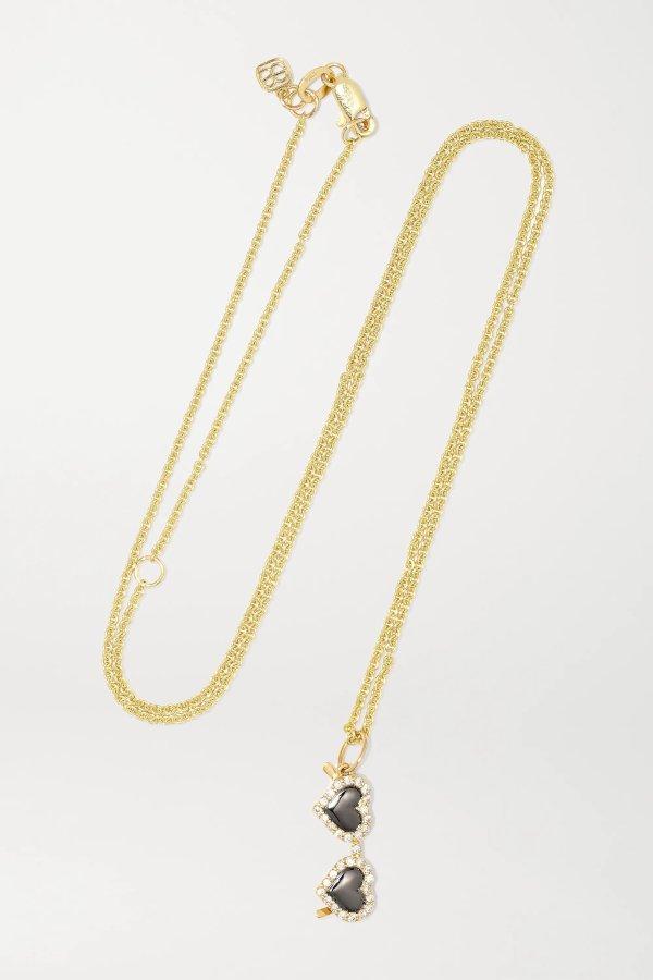 Heart Sunglasses 14K 黄金、钻石、搪瓷项链