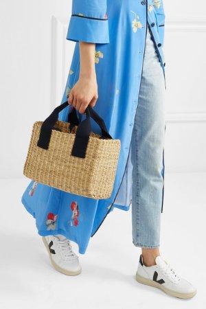 Muun | Ninon straw and gingham cotton-canvas tote