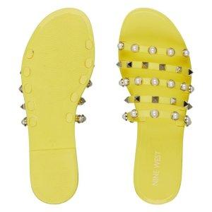 2双$49封面款 珍珠铆钉凉拖鞋 3色选