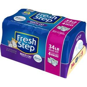 $12.25(原价$26.18) 包邮Fresh Step 清香型结团猫砂 34磅