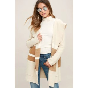 LULUSCarlsbad Tan and Beige Hooded Cardigan Sweater