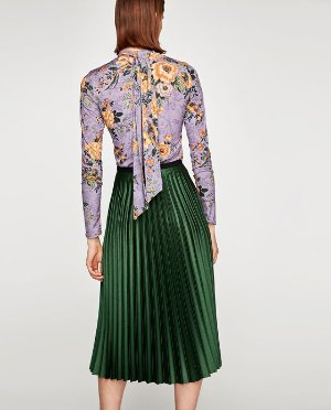 ZARA 墨绿色百褶裙
