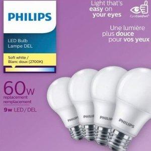 $6.96(原价$9.99)史低价:Philips 飞利浦 463380 A19 60瓦等效 LED节能灯4件套