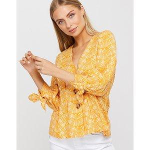 monsoon黄色印花短袖
