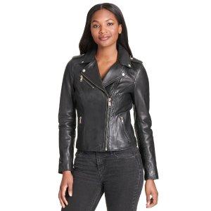 Wilsons LeatherAsymmetrical Leather Jacket w/ Snap Details