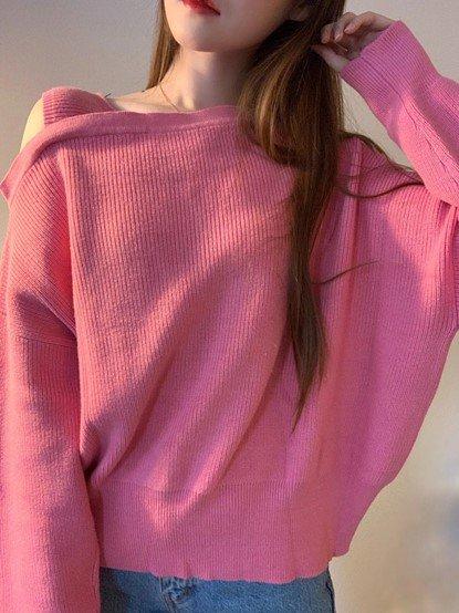 粉色露肩针织衫