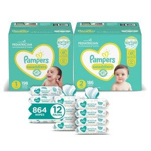 立减$25  $93.49起Pampers Swaddlers 1号+2号尿不湿+宝宝湿巾套装