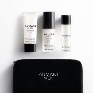 限时7折+送2个小样+包邮 €48收3件套闪购:Armani 阿玛尼 男士套组 洁面30ml+爽肤水30ml+面霜30ml
