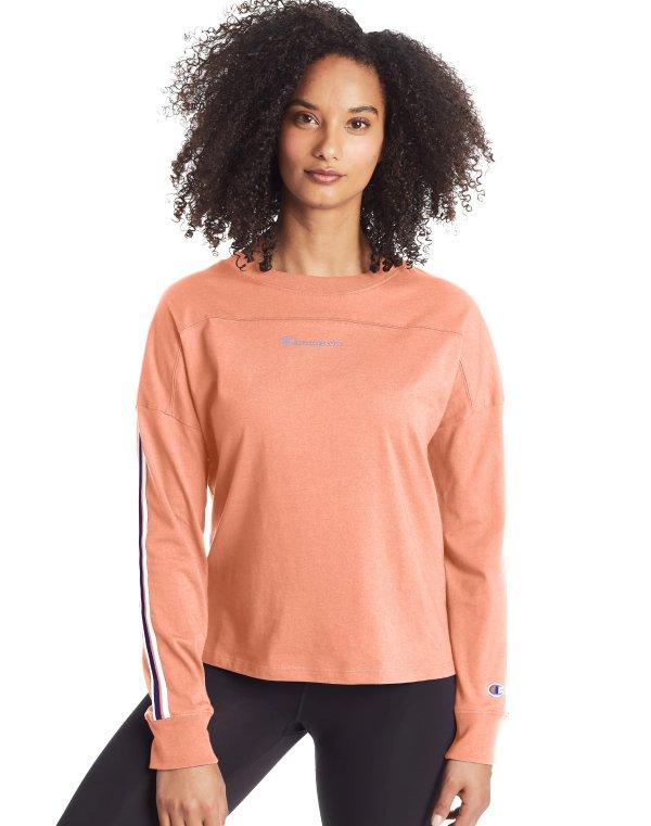 女款粉橘色长袖上衣