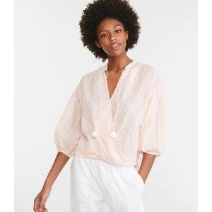LOFTLou & Grey Striped Wrap Shirt   LOFT