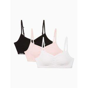 Calvin Kleingirls 3-pack logo padded cropped bras