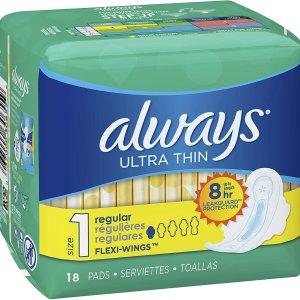$3.32(原价$3.49)白菜价:Always Ultra 带护翼超薄日用无香型卫生巾(18片)