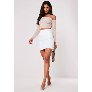 Missguided- White Denim Superstretch Denim Mini Skirt