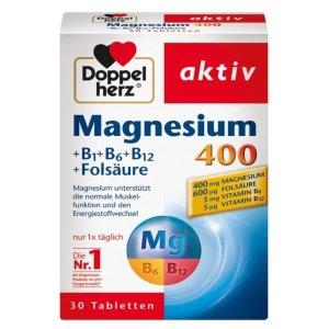 折后仅€2.4Doppelherz 双心镁400mg+维生素B+叶酸营养片 运动人士必备