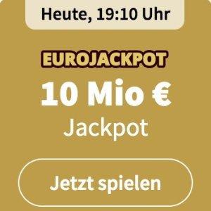 周五开奖 奖金累计1000万欧元EUROJACKPOT 3注只要€2 没有手续费 单车秒变摩托