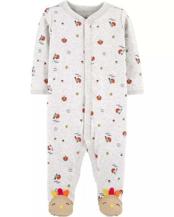 婴儿全棉火鸡图案连体衣