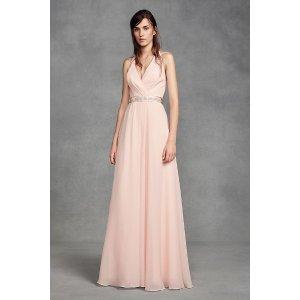 Davids BridalChiffon Halter Bridesmaid Dress with Tulle Bow