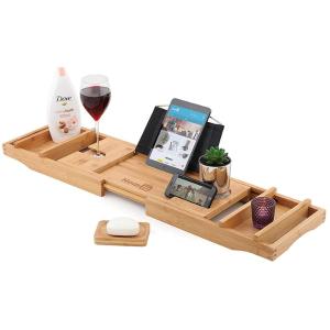 £19.9收博主同款木质浴缸置物架原来泡澡还可以这样玩!超实用泡澡用iPad手机置物架低价收