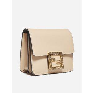 FendiFab Swarovski-FF logo leather bag