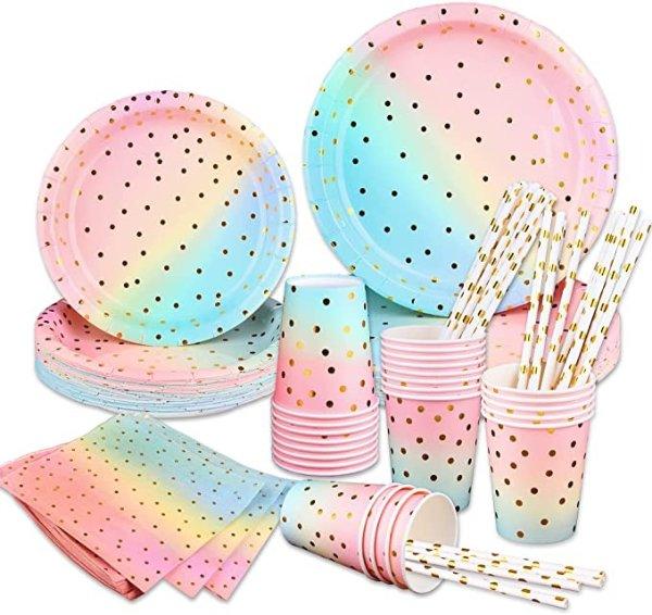 彩虹色餐具25组