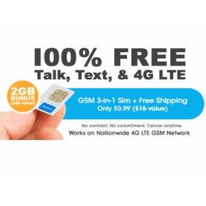 $0.01 + 包邮FreedomPop 无限量通话+短信+2GB流量 1个月试用