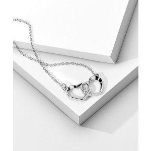 Via Code DMDHDPDouble Heart Diamond Charm Pendant - In 14kt White Gold - (0.03 CTW) | Ritani