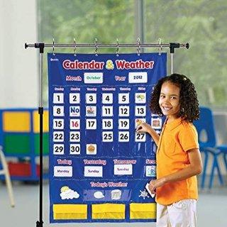 Amazon Learning Resources Calendar & Weather Pocket Chart, Classroom Organization, 136 Piece