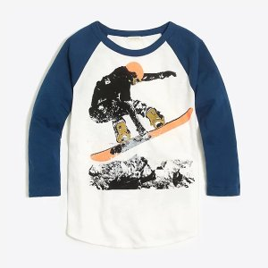 bdf558d54 J.Crew Boys' short-sleeve glow-in-the-dark earth T-shirt. J.CrewBoys'  raglan sleeve snowboarder storybook T-shirt